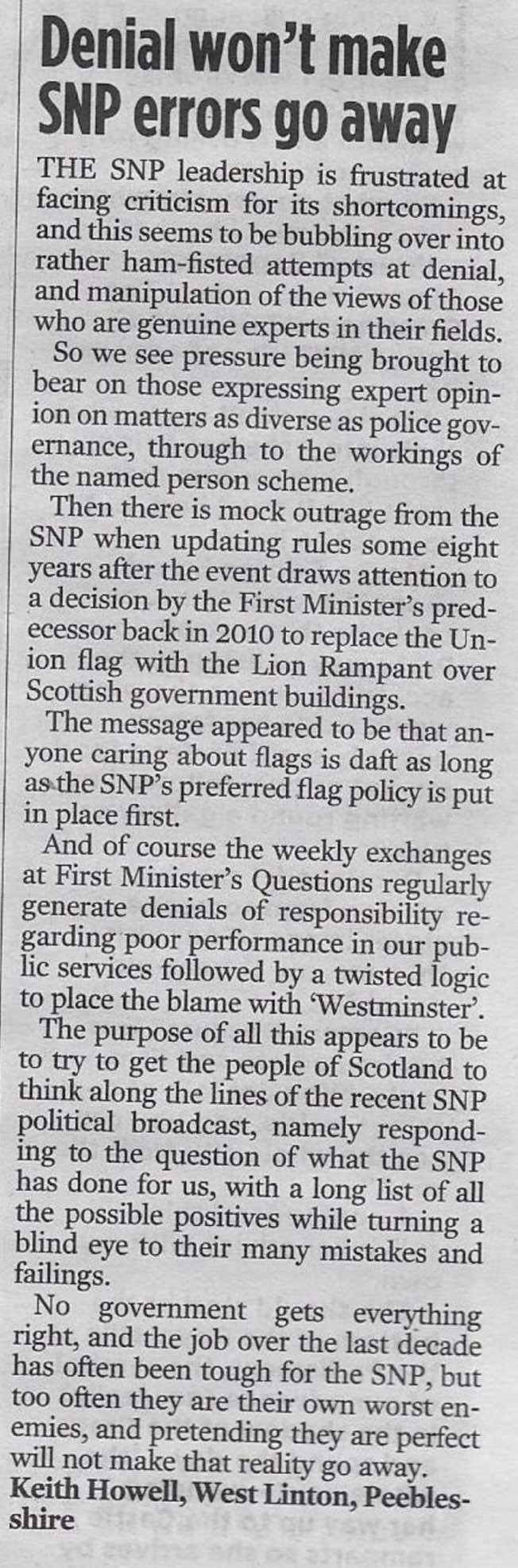 Denial won't make SNP errors go away